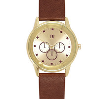 River Island MensBrown classic gold tone face watch