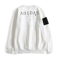 ADIDAS Clover 2018 new men's casual fashion long-sleeved round neck sweater white