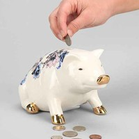 Plum & Bow Patchwork Piggy Bank- Blue One