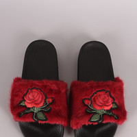 Embroidered Rosette Faux Fur Slide Sandal