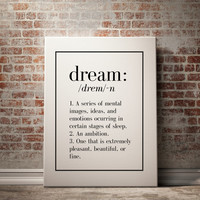 Dream definition Dream Typewritter Dream dictionary Scandinavian poster Name Definition Funny Wall Art Dream poster Dream wall art