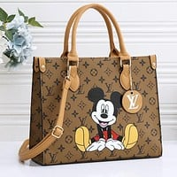 Onewel Louis Vuitton LV Women Square Handbag Mickey Print Crossbody Bag