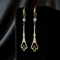 Striking Dangle Earrings with Vintage Findings and Vintage Czech Glass Accents – Denim Blue and Antique Gold Tones