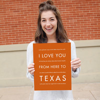 TEXAS State Wall Poster   Gift Idea   HopSkipJumpPaper