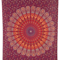 Roll over image to zoom in      Luna Bazaar Anita Bohemian Mandala Tapestry, Wall Hanging, and Bedspread (Medium, 4.5 x 7 Feet, Red and Orange, 100% Cotton, Fair Trade Certified)