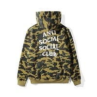 BAPE x ANTI SOCIAL SOCIAL CLUB Joint Series Camouflage Hoodie F-A-KSFZ Camouflage green
