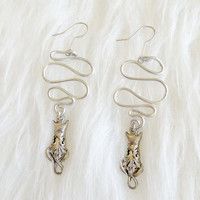 Silver Squiggle Cat Earrings - Handmade, Spiral, Aluminum, Metal Loops, Cat Charms, Cat SIlhouette, Silver Tone, Everyday, Unique, Wire Wrap