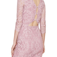 Pink Long Sleeve Lace Knee-lenght Dress