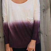 Ombre Long-Sleeve Open-Back Loose Shirt