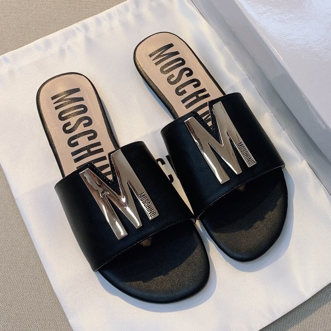 Image of Moschino  Spring and summer letter flat bottom slipper shoes
