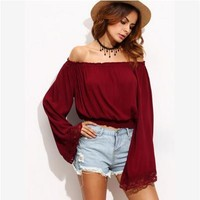 Patchwork Long Sleeve Autumn Lace T-shirts [7976011713]
