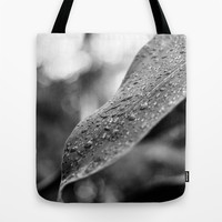 Black and White Wet Leaf Tote Bag by Pati Designs