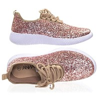 Remy18 by Forever, Lace up Rock Glitter Fashion Sneaker w Elastic Tongue & White Outsole