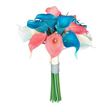 Real touch calla lily bouquet-coral malibu turquoise white beach tropical outdoor wedding