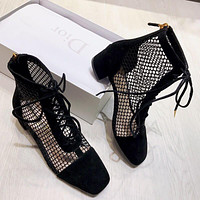 Naughtily-d Lace-up Ankle Boot In Black Suede Calfskin And Mesh #2470