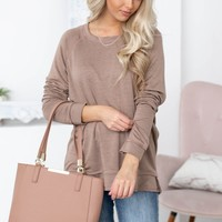 Long Sleeve Laid Back or Dress Up Top |  BROWN