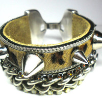 Armcandy cuff bracelet, bohemian gypsy hippie, leopard panther print, snake print, spikes, jewelry gift holidays chain