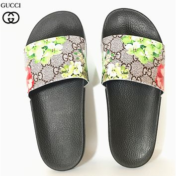 GUCCI New fashion floral more letter print shoes flip flop slippers-1