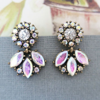 Crystal Statement Earrings, Vintage Style Rhinestone Earrings, Dangle Studs
