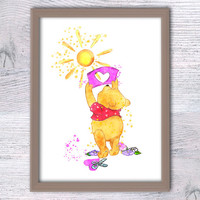 Pooh bear watercolor print Winnie the Pooh art poster Baby shower gift Nursery room wall decor Kids room wall art Wall hanging poster V203