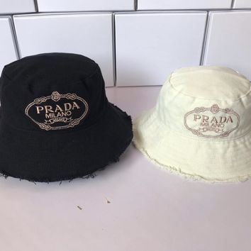 """PRADA"" Women Retro Fashion Letter Embroidery Fisherman Cap All-match Bucket Hat Sun Hat"