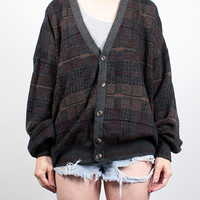 Vintage 90s Sweater Soft Grunge Sweater 1990s Sweater Plaid Cardigan V Neck Boyfriend Sweater Cozy Gray Oversized Knit L XL Extra Large XXL