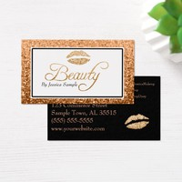 Makeup Artist Rose Gold Beauty Lips Business Card