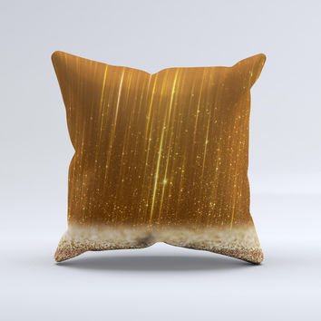 The Scratched Gold Streaks ink-Fuzed Decorative Throw Pillow
