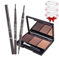 Portable eyebrow enhancer set [eyebrow powder Palette+waterproof eyebrow pencil ] makeup for eyes brow and paint brush