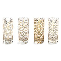 Rosanna 'Kashmir' Highball Glasses - White (Set of 4)