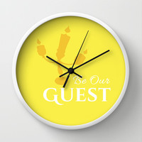 BE OUR GUEST  Wall Clock by Lauren Lee Designs