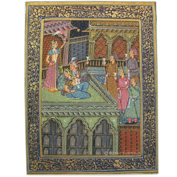 Indian Mughal King Love Scene Rajasthan Miniature Painting