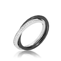 Double-band Ceramic Eternity Ring - Black, size : 07