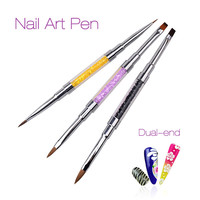 New Nail Art Brush Pen Dual Head UV Gel Nail DIY Painting Pen Manicure Pedicure Tools 3 Color Dual-Tip 2017 New Hot Sale Gift