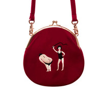 YiZi Velvet Mini Crosbody Bag/Red Kinky