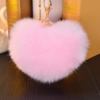 Colorful Heart Key Chain Faux Rabbit Fur