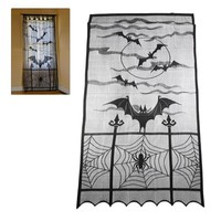 2018 Hot Sales Halloween Festival DIY Door Screen Heritage Lace Bat Spider Web Curtains Room Door Window Decors #0531