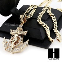 L ANCHOR JESUS CRUCIFIX PENDANT & DIAMOND CUT CUBAN LINK CHAIN NN49