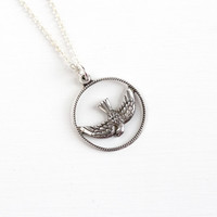 Vintage Sterling Silver Flying Bird Pendant Necklace - 1960s Retro Mid-Century Round Open Metal Swallow in Flight Jewelry