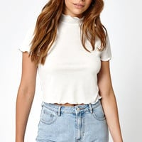 LA Hearts Mock Neck Lettuce Hem Top at PacSun.com