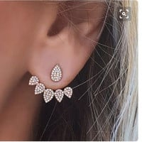 Korean Jewelry 2016 New  Crystal Front Back Double Sided Stud Earrings For Women Fashion Ear Jacket Piercing Earing Koyle