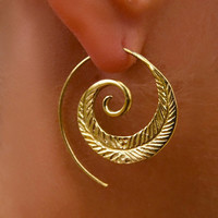 Spiral Leaf Brass Earrings - Tribal Jewelry - Statement Earrings - Brass Jewelry - Spiral Earrings - Native Jewery - Ethnic Jewelry