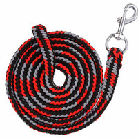 Saddles Tack Horse Supplies - ChickSaddlery.com Tough-1 8' Triple-Colored Poly Cord Lead with Bolt Snap <>