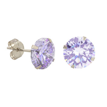 10k White Gold Round Light Purple CZ Stud Earrings Prong Set