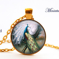 Peacock Pendant Peacock Necklace Aqua Turquoise White Mating Valentine Jewelry Necklace for him Gifts for Her Vintage Retro kissing