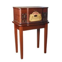 Electrohome EANOS501 3-in-1 Vintage Classic Turntable Real Wood Stereo System with AM/FM Radio, CD & Full Size Record Player & Electrohome Nostalgia 500 Series Stand