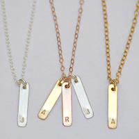 Initial Vertical Bar charm Necklace - Available in Rose Gold, Yellow Gold or sterling silver -  Mixed metal personalized necklace