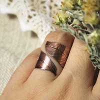 Fire bird feather ring - Copper ring - Etched ring - Hand sharped ring - Free-size ring - Cuff-ring