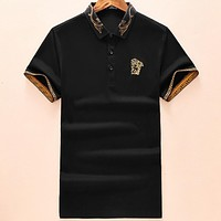 Versace 29018 summer new embroidered logo lapel polo shirt short-sleeved T-shirt F-A00FS-GJ black