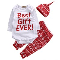 Autumn infant clothes baby clothing sets Girl Christmas Clothes Romper Tops Pants Hat Outfit Set